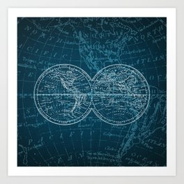 Antique Navigation World Map in Turquoise and White Art Print