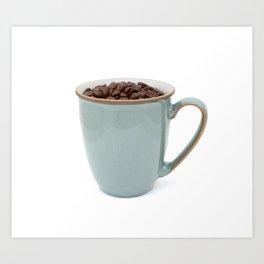 Turquoise mug of aromatic coffee beans Art Print