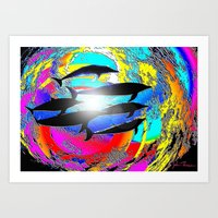 dolphins Art Prints featuring Dolphins by JT Digital Art