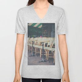 tables & chairs outside of a Paris cafe Unisex V-Neck