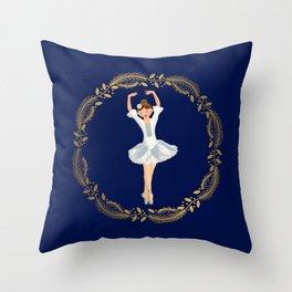 The Nutcracker Christmas Special - Nutcracker Scene - Ballerina dance in Golden Christmas Wreath (Royal Blue) Throw Pillow