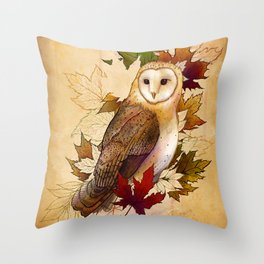 Autumn Barn Owl Throw Pillow