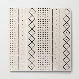 Boho Farmhouse Rustic Pattern in Cream and Black Metal Print