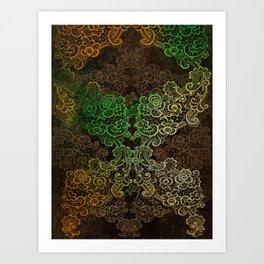 lace cascade green Art Print