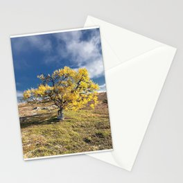 Yellow Tree in the mountains Stationery Cards