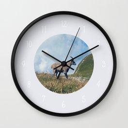 Ibex while hiking Wall Clock