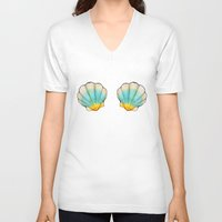 shell V-neck T-shirts featuring shell by Bárbara  Kramer