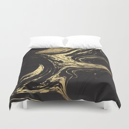 Marble Elegant Black and Gold Marble Texture Duvet Cover