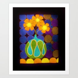 Three Groovy Flowers  by Anthony Davais Art Print