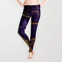 Dark Night Purple And Gold Marbled Texture Leggings
