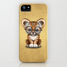 Cute Baby Tiger Cub Wearing Eye Glasses on Yellow iPhone Case
