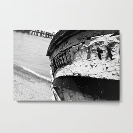 Shrimp Boat II Black & White Metal Print