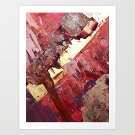 Desert Sun: A bright, bold, colorful abstract piece in warm gold, red, yellow, purple and blue Art Print