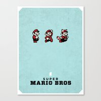 mario bros Canvas Prints featuring Super Mario Bros 3 by Brandon Riesgo