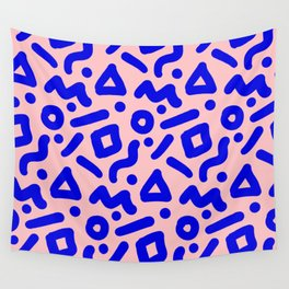 Doodle Pattern - Pink and Electric Blue Wall Tapestry