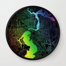 Jacksonville, USA, City, Map, Rainbow, Map, Art, Print Wall Clock
