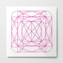 Stained Glass- Pink Metal Print