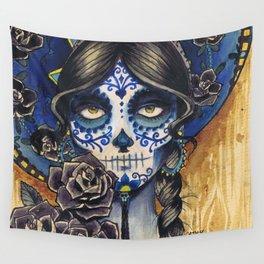 Sombrero Skull Girl Wall Tapestry