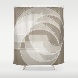 Spacial Orbiting Spiral in Taupe Shower Curtain
