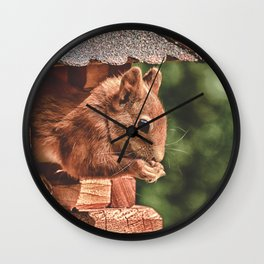 Foraging Squirrel in Little House Wall Clock