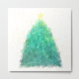 O Green Sparkly Festive Christmas Tree Metal Print