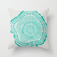 Turquoise Tree Rings Throw Pillow