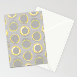 Solar Eclipse MCM Gray-Yellow Stationery Cards