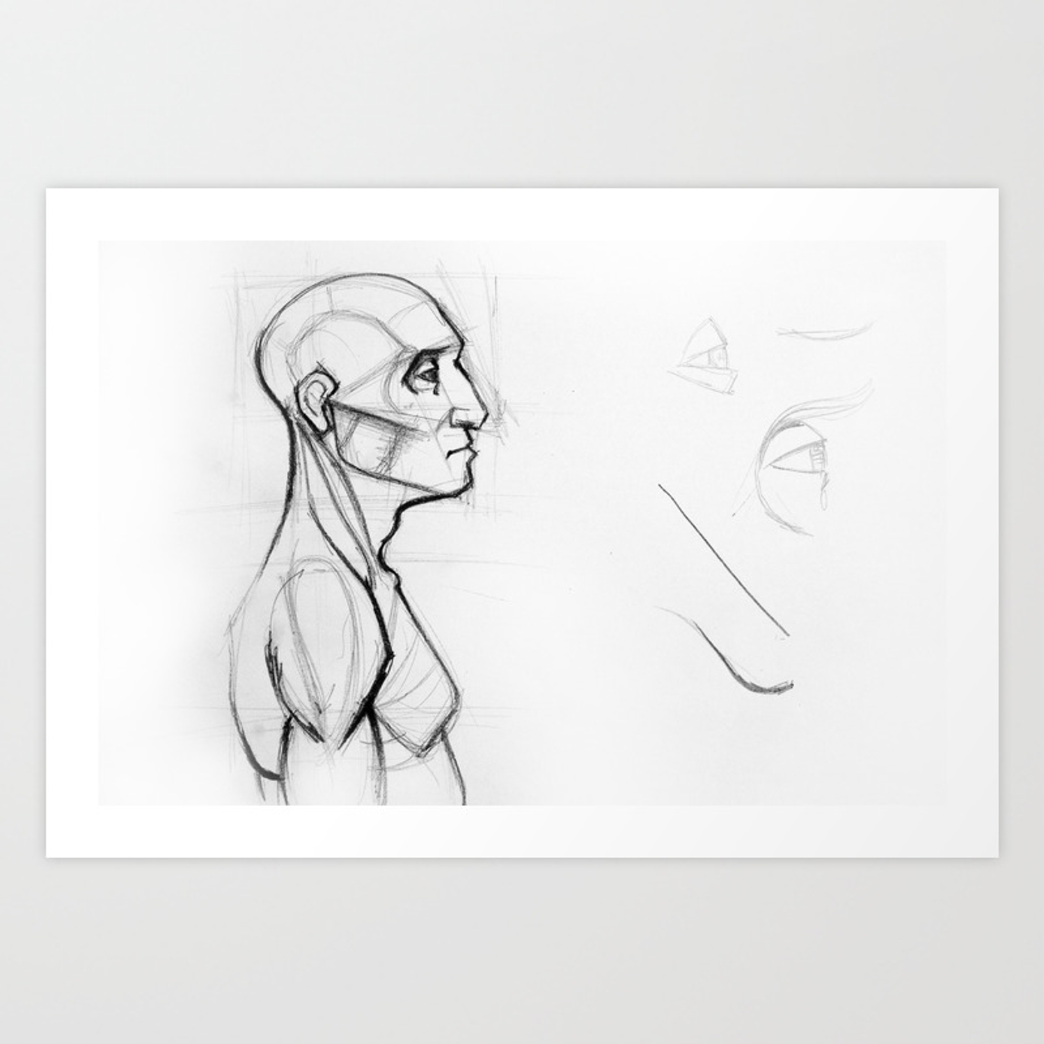 Outline drawing sketch of side profile of a human male head and torso anatomy illustration art print