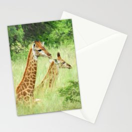 Baby giraffes in natures nursery Stationery Cards