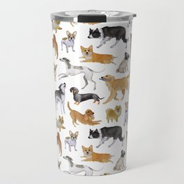 Dogs Fun Watercolor Travel Mug