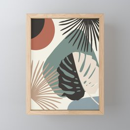 Minimal Yin Yang Monstera Fan Palm Finesse #1 #tropical #decor #art #society6 Framed Mini Art Print