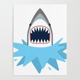 Cartoon Shark Splash Poster