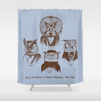 philosophy Shower Curtains featuring A History of Western Philosophy. With Owls. by Jon Turner