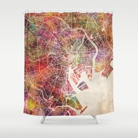 tokyo ghoul Shower Curtains featuring Tokyo by MapMapMaps.Watercolors