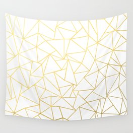 Ab Outline White Gold Wall Tapestry