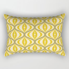Retro Mid-Century Saucer Pattern in Yellow, Gray, Cream Rectangular Pillow