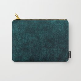 Teal Blue Velvet Texture Carry-All Pouch