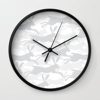 hare Wall Clocks featuring Hare by STUDIO LOOF.