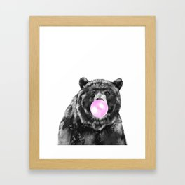 Bubble Gum Big Bear Black and White Framed Art Print