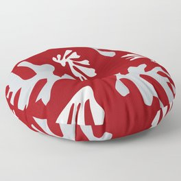 Matisse Silver & Red Holiday Leaves Floor Pillow