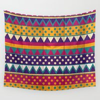 mexican Wall Tapestries featuring Mexican Pattern by Eleaxart
