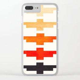 Ancient Aztec Inca Geometric Pattern Watercolor Orange Colorful Gouache Painting Clear iPhone Case