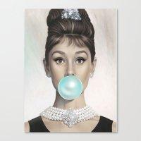 Canvas Prints featuring BUBBLEGUM AUDREY by I Love Decor
