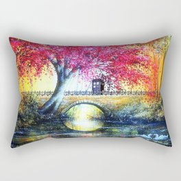 Tardis At The Bridge Autumn Blossom Rectangular Pillow
