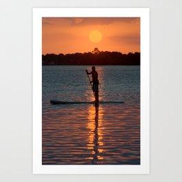 Paddleboard Sunset Art Print