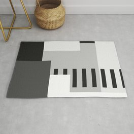 Carson Abstract Geometric Print in Black and White Rug