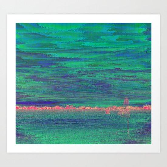 GLITCH ghost beach Art Print