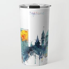 Watercolor Oakland skyline cityscape Travel Mug