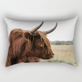 Wild Scottish Highlander cow in national park | Cattle in Nature | Veluwe park, the Netherlands | Travel photography Rectangular Pillow