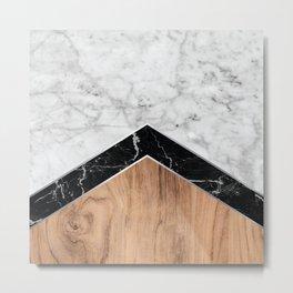 Arrows - White Marble, Black Granite & Wood #585 Metal Print